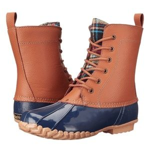 Maine Woods Duck Boot size 6 tan navy NIB Lani
